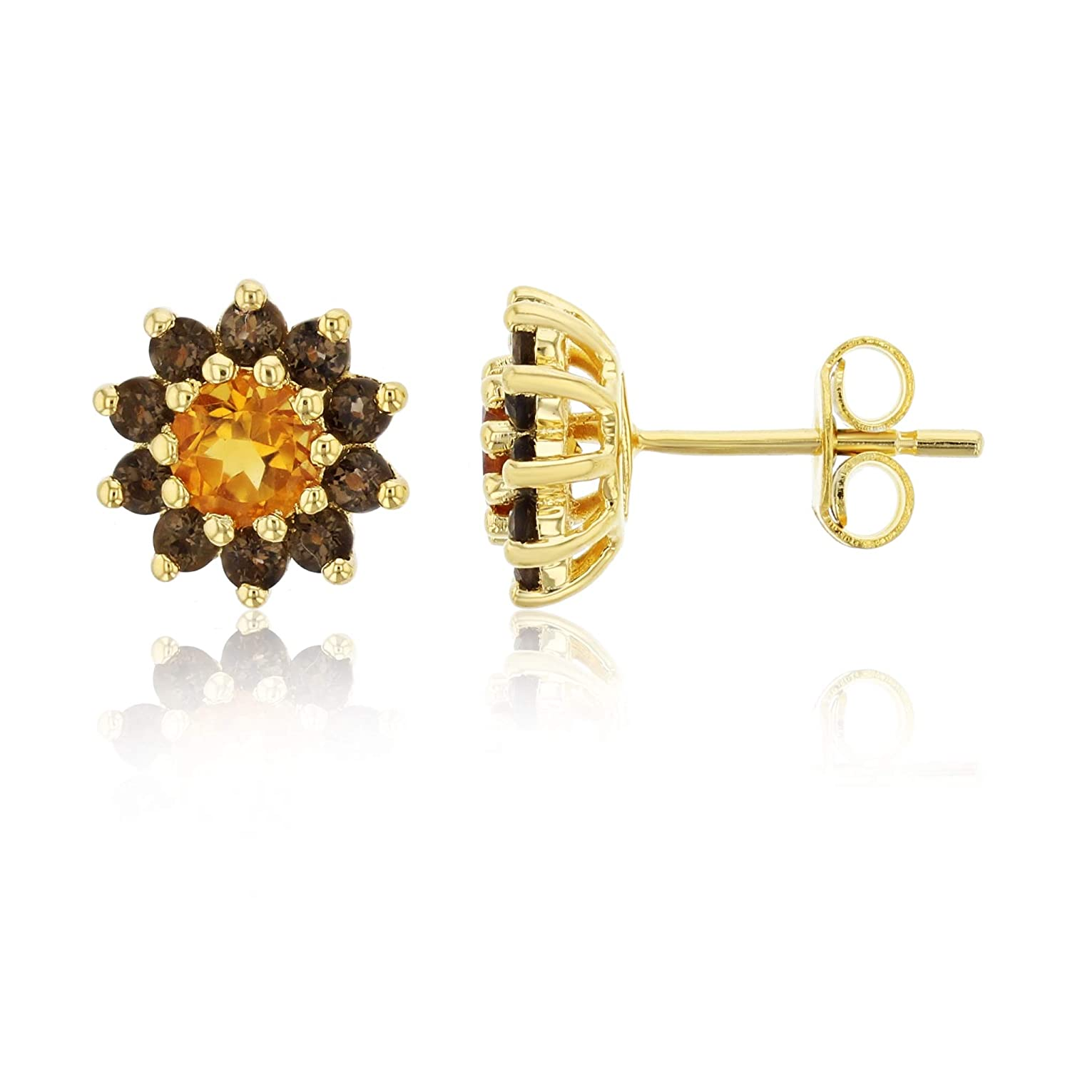 Sterling Silver Yellow Citrine And Smokey Quartz Flower Stud Earring Decadence SSE8728Y4F