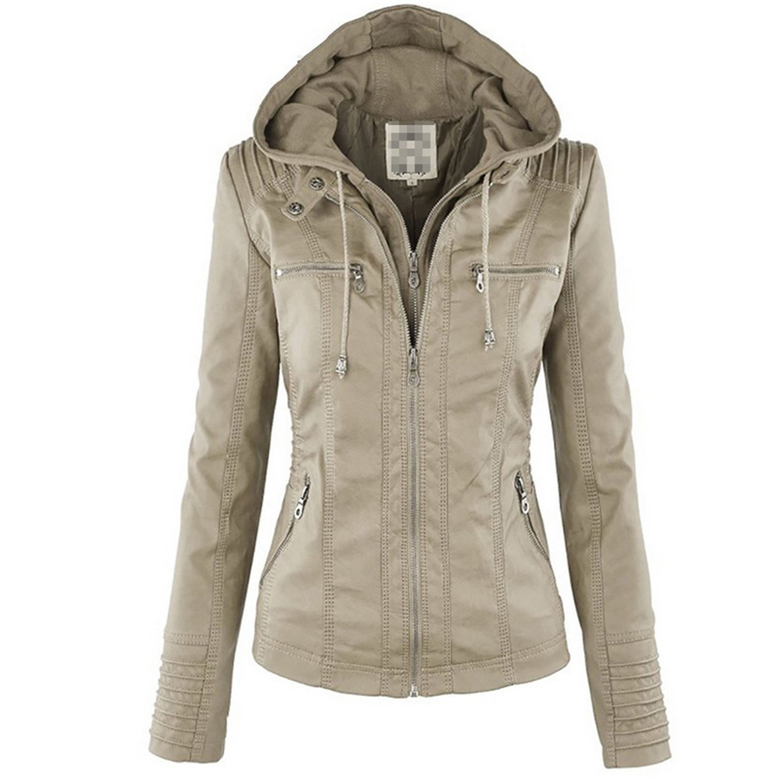 YouzhiWan007 New Winter Faux Leather Jacket Womens Basic Coats Long Sleeve Hat Removable Women Coats Waterproof Windproof Jackets Female 50