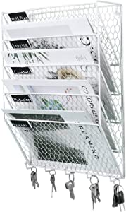 PAG 5 Tier Wall File Holder Hanging Mail Organizer Metal Chicken Wire Wall Mount Magazine Rack with Hooks for Home and Office, White
