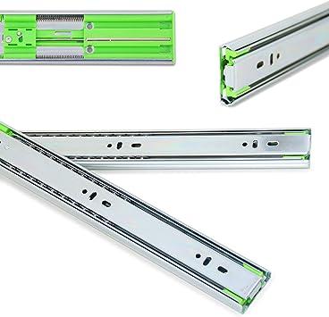 capacidad de carga de 40 kg 2 unidades rodamiento de bolas 250-700 mm 1 par de rieles para cajones insertados extracci/ón completa con autocierre Lanzza
