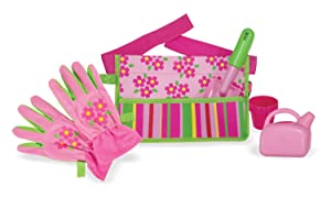 Melissa & Doug Sunny Patch Blossom Bright Garden Tool Belt Set With Gloves, Trowel, Watering Can, and Pot