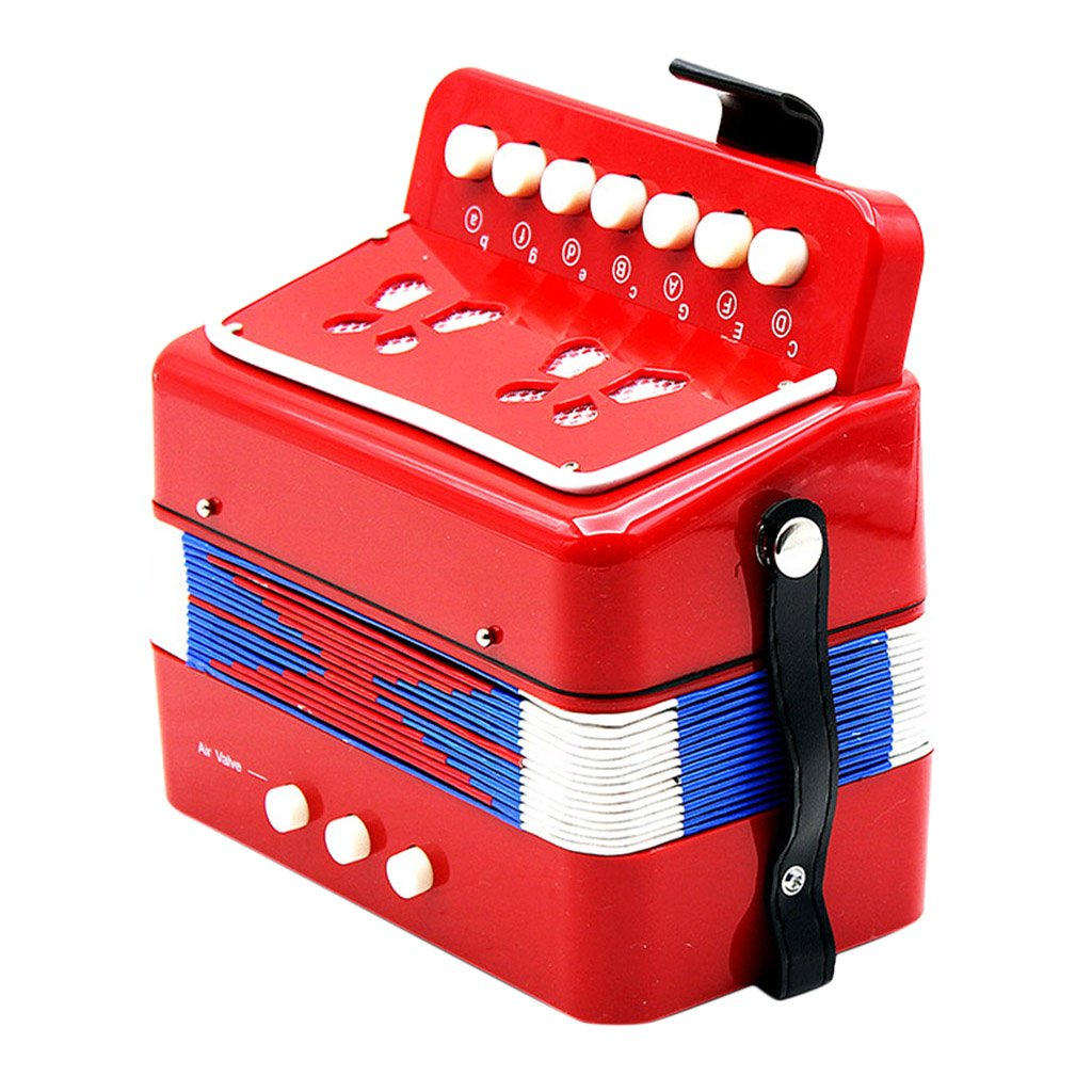 Kids Percussion Accordion Musical Toy Children Musical Instrument Red by Almencla