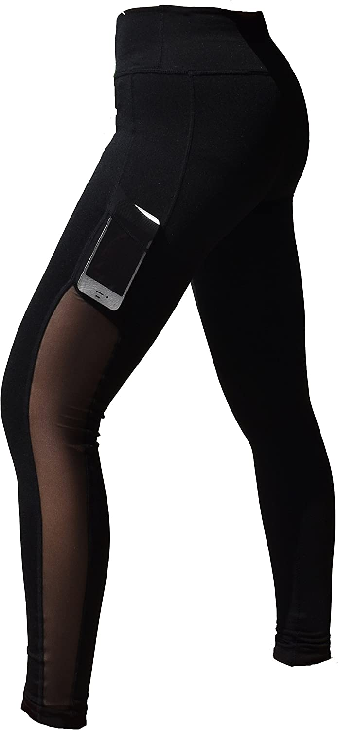 J-pinno Women High Waist Sports Mesh Tights Workout Running Pant Legging with Side Pocket