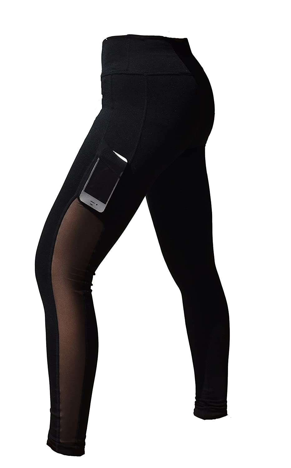 f5c5d13662da6 Amazon.com: Women High Waist Sports Mesh Tights Workout Running Pant Legging  with Side Pocket: Clothing