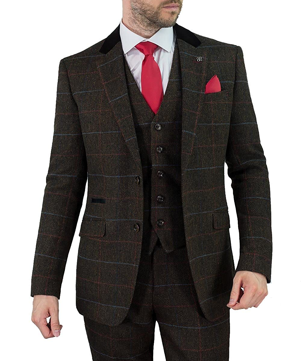 Cavani Men Tommy 3 Piece Tweed Suit