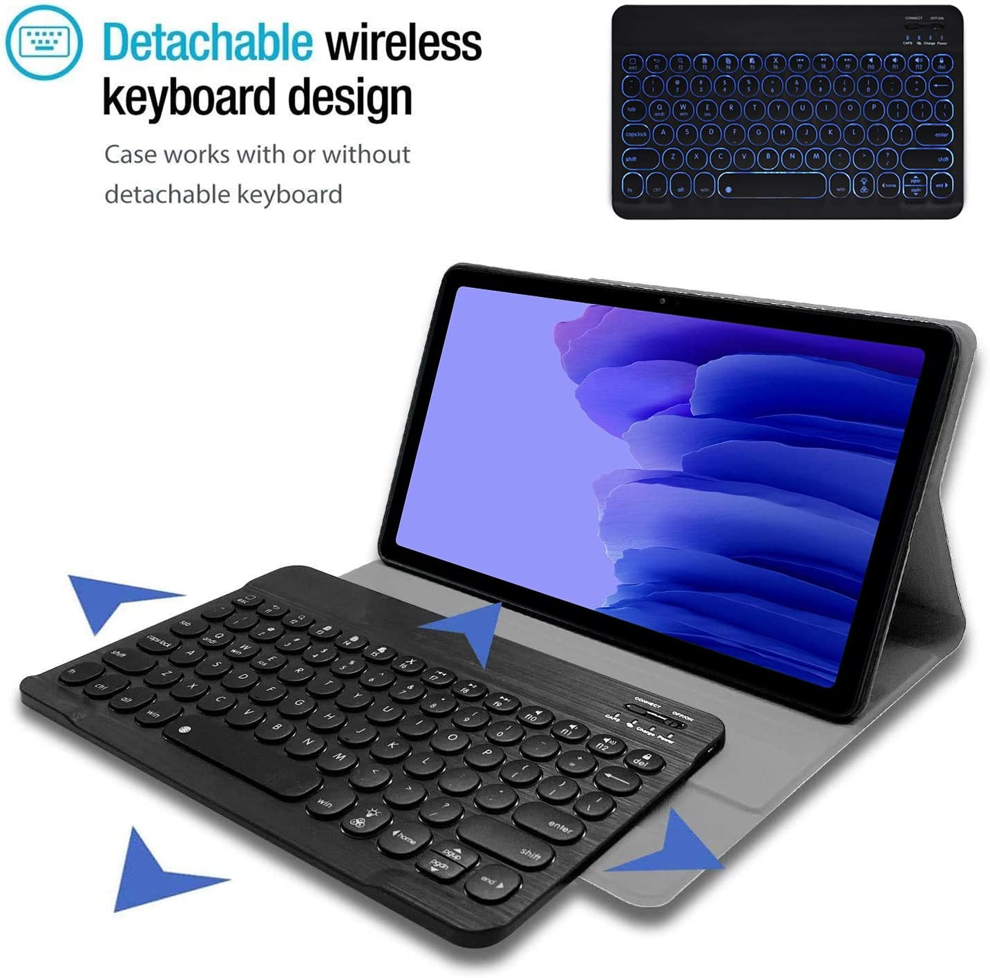 Black 7 Color Light Detachable Wireless Keyboard with PU Folio Stand Cover for Samsung Galaxy Tab S6 Lite 10.4 Inch 2020 Backlit,SM-P610,SM-P615 Wineecy Galaxy Tab S6 Lite 2020 Keyboard Case 10.4