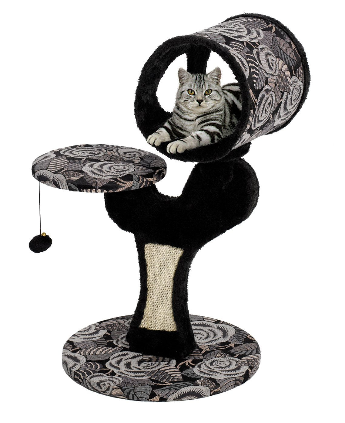 MidWest ''Salvador'' Cat Tree w/ Built-in Sisal Cat Scratching Pad & Cat Look-Out Lounge, Black / White Pattern, Small Cat Tree