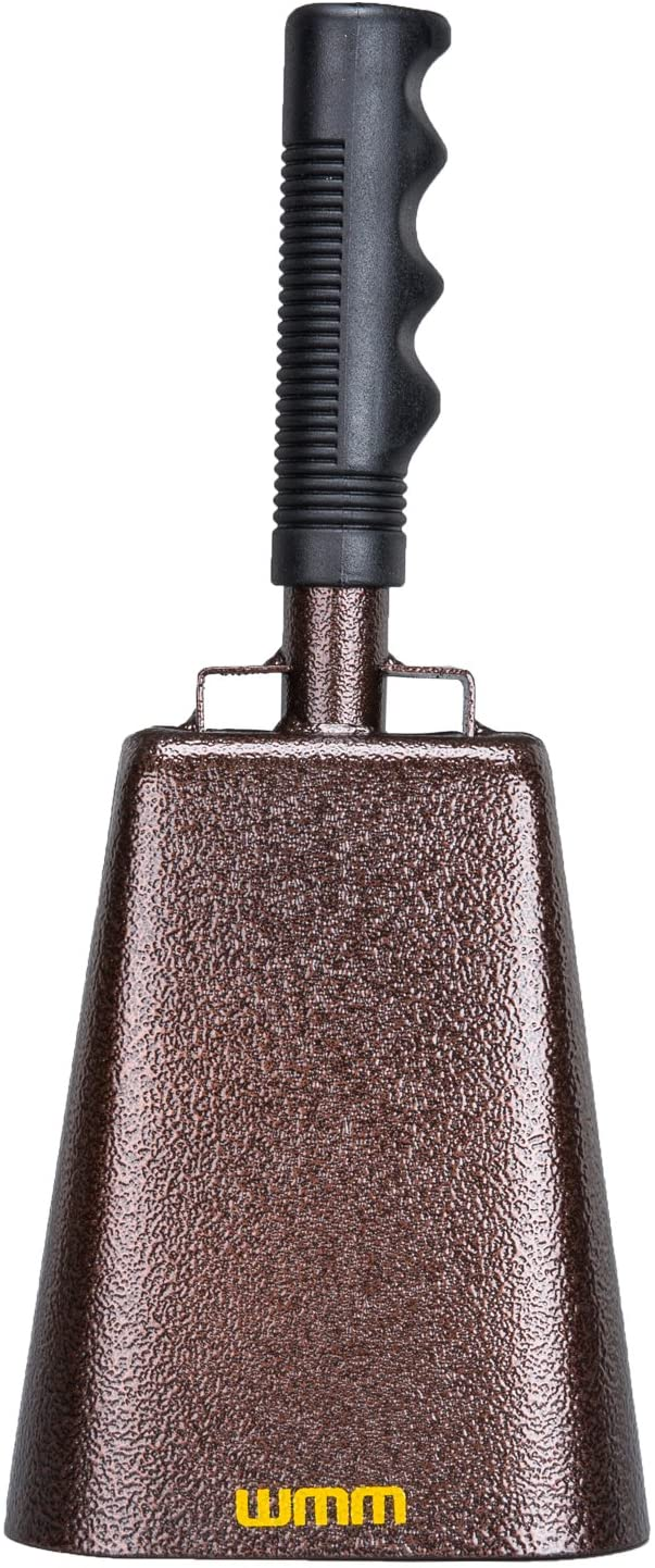 10 Inch Steel Cowbell with Handle Cheering Bell for Sports Events Large Solid School Bells & Chimes Percussion Musical Instruments Call Bell Alarm(Copper) 71aQHv9Kp5L