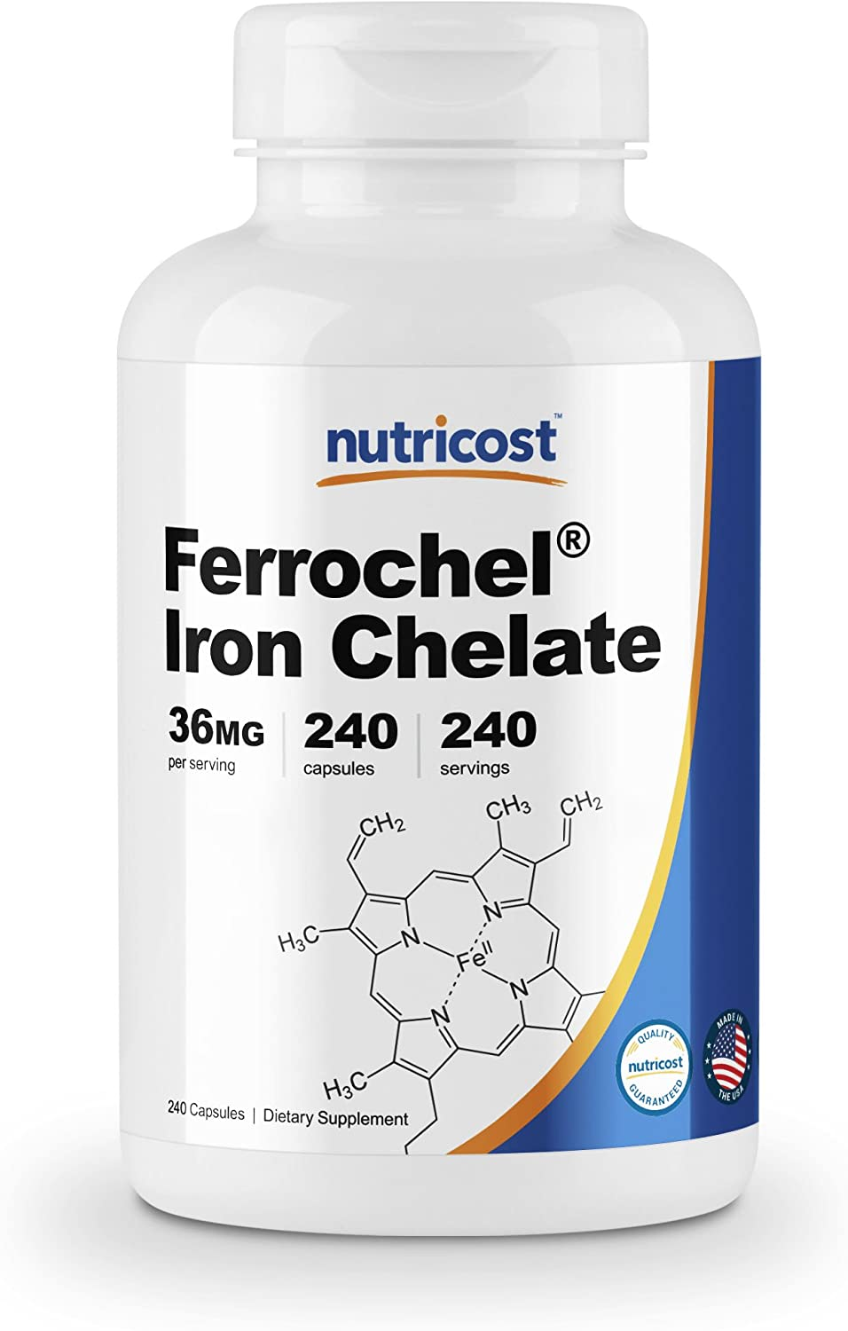 Nutricost Chelated Iron, As Ferrochel, 36mg, 240 Capsules