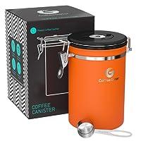 Coffee Gator KAFFEEDOSE - KAFFEEBEHÄLTER aus Edelstahl mit Deckel und Aromaverschluss - Vorratsdose um Kaffeebohnen oder Kaffeepulver perfekt aufzubewahren – Aromadose mit gratis Dosierlöffel