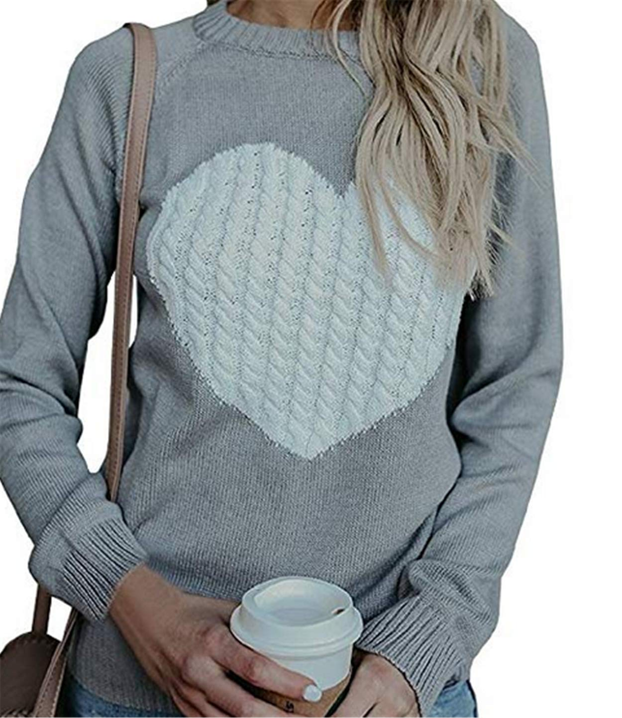 Bohai Womens Casual Cable Knitted Crewneck Heart Love Oversized Pullover Sweater