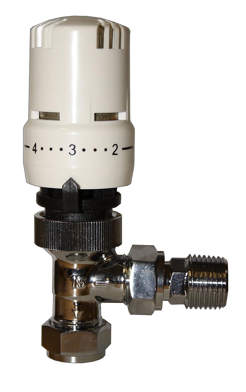 Tower Flue Components TRV3 Angled Thermostatic Radiator Valve - White