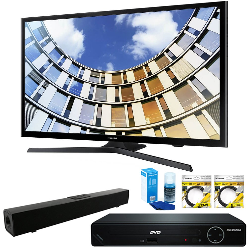 Samsung Flat 50'' 1080p LED SmartTV 2017 Model (UN50M5300AFXZA) with HDMI HD DVD Player, Solo X3 Bluetooth Home Theater Sound Bar, 2x 6ft High Speed HDMI Cable & Screen Cleaner for LED TVs