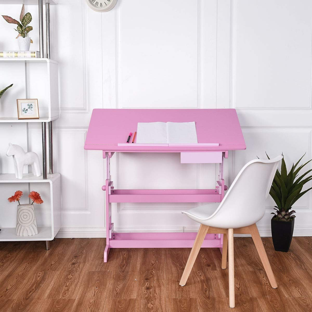 Home Sweet Color Cute Table Student Homework Read Table Wooden Adjustable Art Drafting Table with Drawer Student Desk Girls Decor Gift