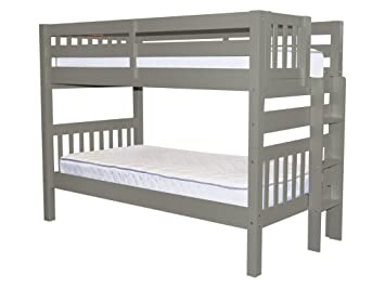 Bedz King Bunk Beds Twin Over Mission Style With End Ladder Gray