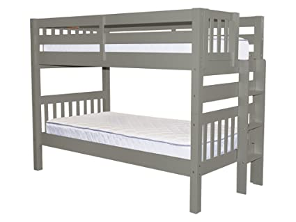 Superieur Bedz King Bunk Beds Twin Over Twin Mission Style With End Ladder, Gray