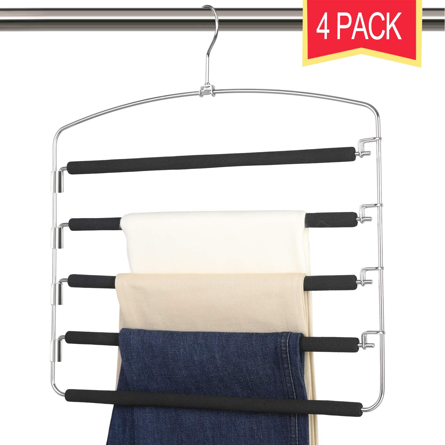 Giftol Pants Hangers 5 Layers Stainless Steel Non-Slip Foam Padded Swing Arm Space Saving Clothes Slack Hangers Closet Storage Organizer for Pants Jeans Trousers Skirts Scarf Ties Towels(Pack of 4) by Giftol