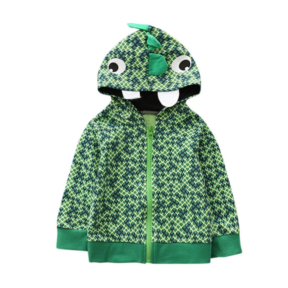 Jchen(TM) Clearance Kids Baby Little Boys Girls Autumn Cartoon Animal Hooded Warm Coat Cloak Tops for 0-4 Y (Age: 0-12 Months, Light Green)