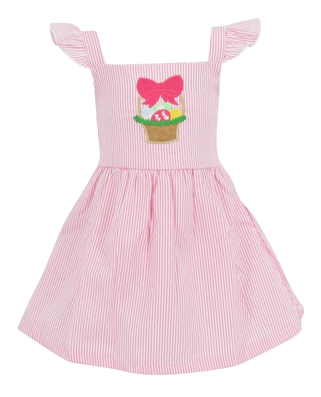 Unique Baby Girls Easter Basket Seersuck Dress