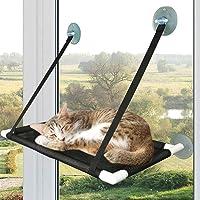 PrimePets Percha de ventana para gatos grandes, hamacas para gatos de 60 x 31 cm para gatos de interior, 4 ventosas para…
