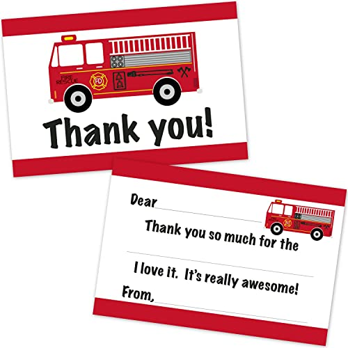 Fire Truck Birthday Fill In Thank You Cards for Boys (10 Count with Envelopes)