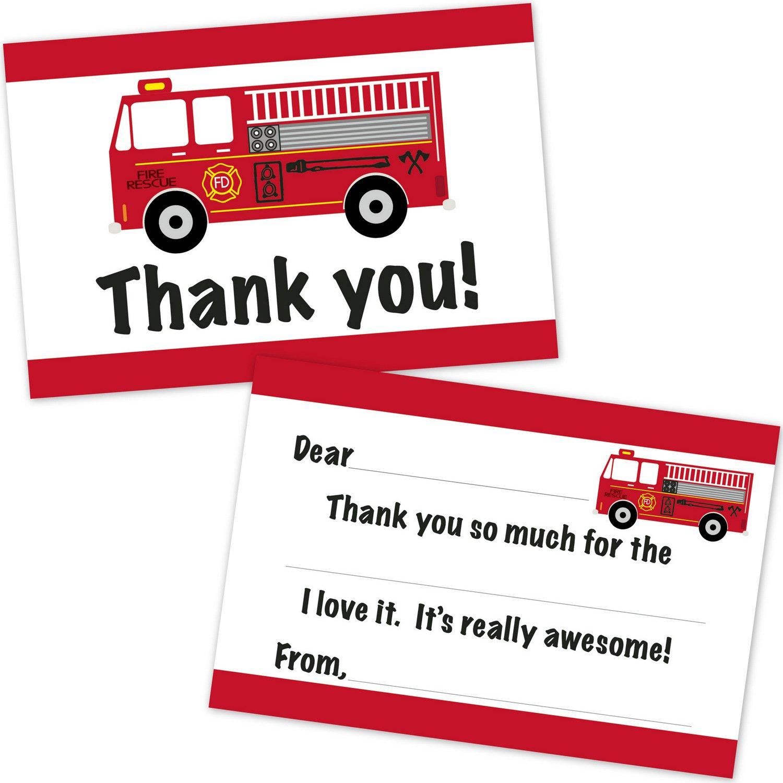 Amazon.com: Fire Truck Kids Birthday Party Invitations for Boys (20 ...