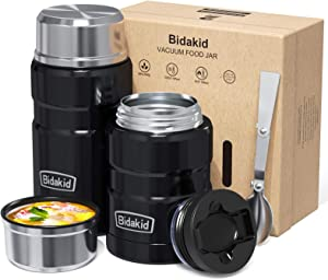 Thermoses for Hot Food - (Bidakid) 2 Pack Stainless Steel Thermoses Containers with Lid Vacuum and Folding Spoon Insulated Lunch Jar for Hot Cold Food Soup for Kids and Adults (25.4oz+17oz)