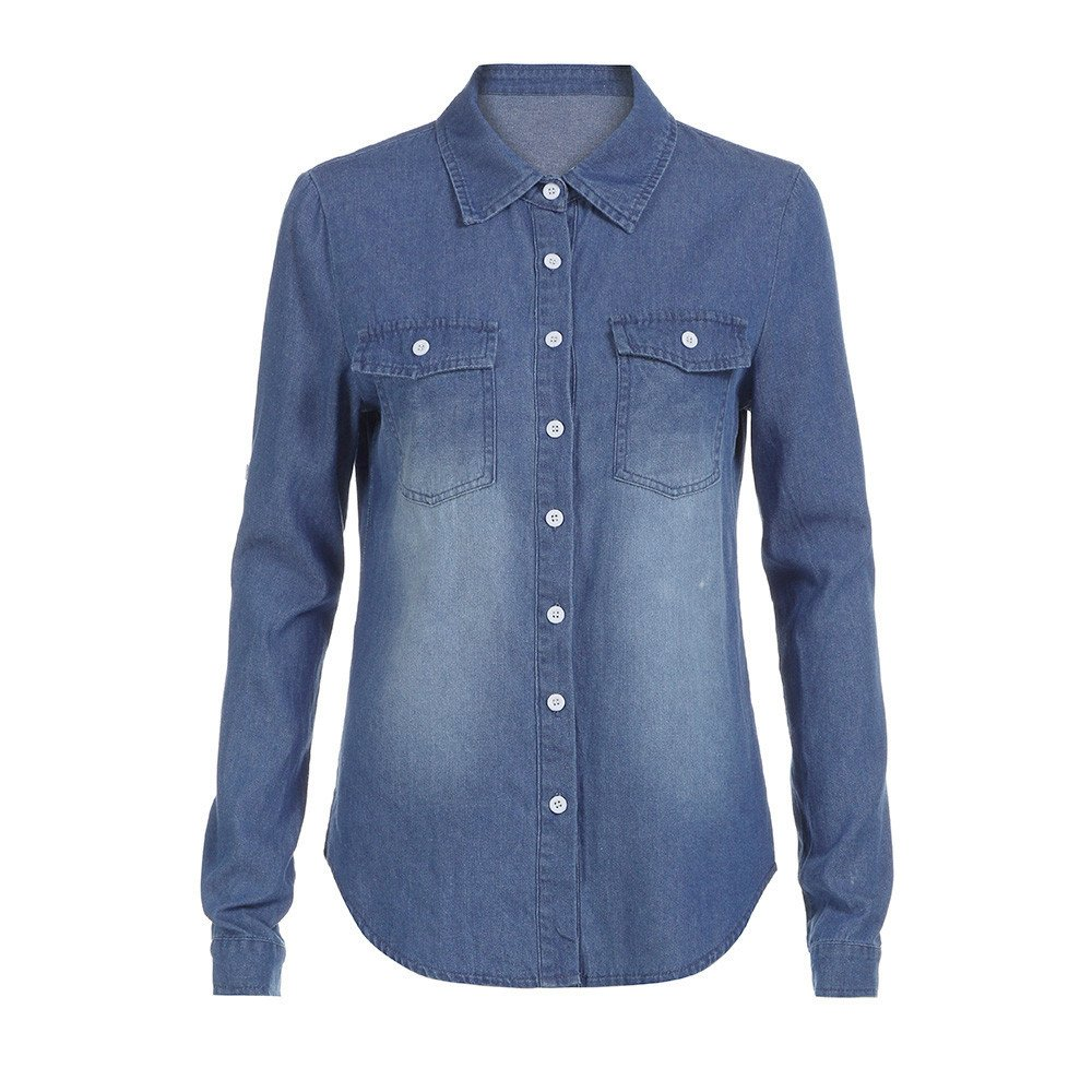da10c32aa36 Amazon.com  Kemilove Women s Casual Blue Long Chambray Shirt Button Down  Tunic Long Sleeve Blouse Jeans Top  Clothing