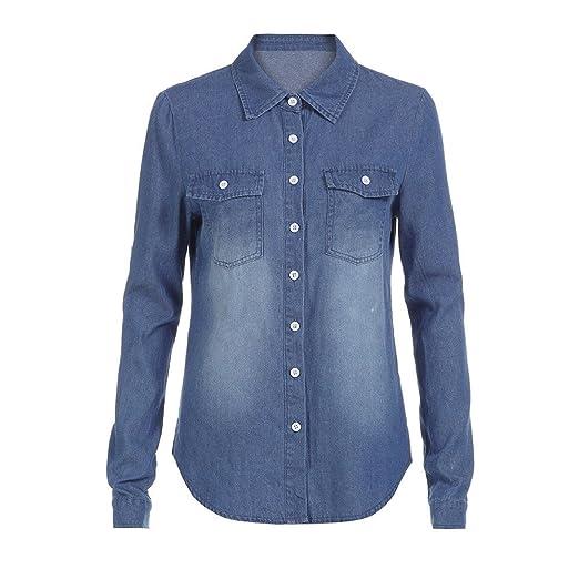 VJGOAL Moda para Mujer Casual Azul Jean Solapa Botón Camisa de Manga Larga Tops Blusa Chaqueta: Amazon.es: Ropa y accesorios