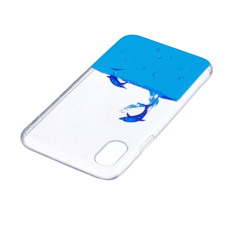 Gato Cabeza Pintura Dise/ño Crystal View Ultra Slim Carcasa de Silicona TPU en Transparente Trasera Bumper Protecci/ón Case Cover Funda C/áscara para Apple iPhone X ISAKEN Funda para iPhone X