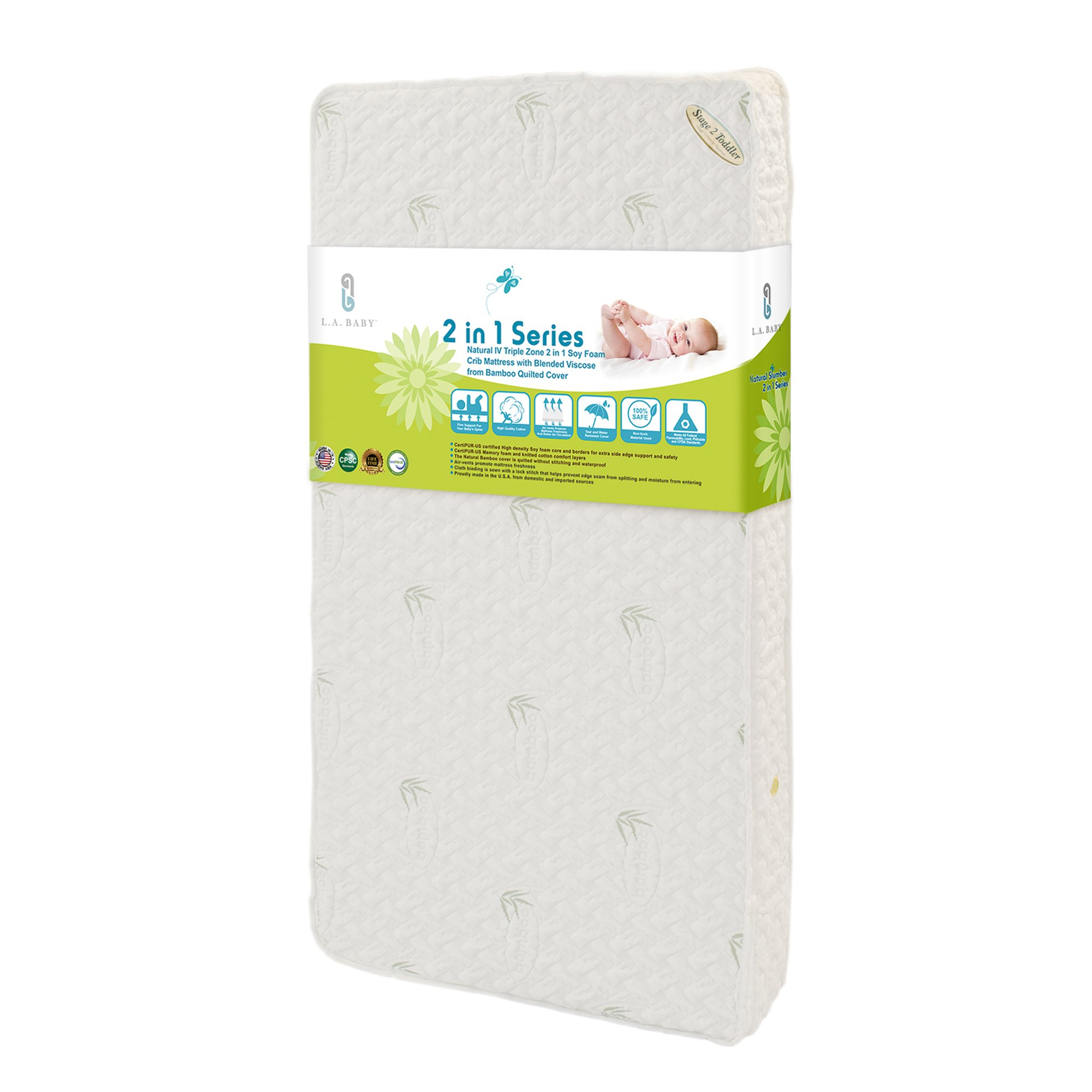 LA Baby Natural IV Triple Zone 2 in 1 Soy Foam Crib Mattress with Blended Visco Bamboo Quilted Cover