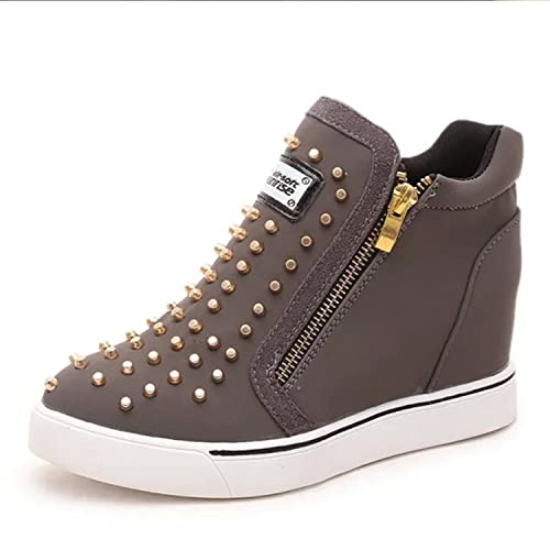 Platform Shoes Woman Canvas Shoes Woman Increased Rivet Femmes Tenis Casual Women Shoes Gray 8.5