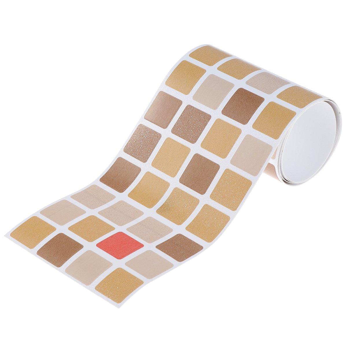 BESTONZON Tuiles de mosaïque auto-adhésives démontables anti-moisissure imperméable à l'eau et bâton de mur pour la décoration de salle de bains de cuisine