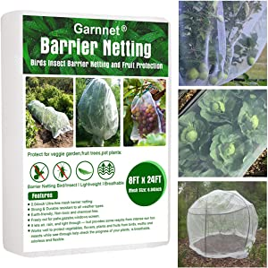 Garden Barrier Netting, Extra Fine Mesh Netting 8ftx24ft Protection Screen Bird Net Plant Covers Protect Plants Fruits Flowers Against Birds Deer & Squirrels