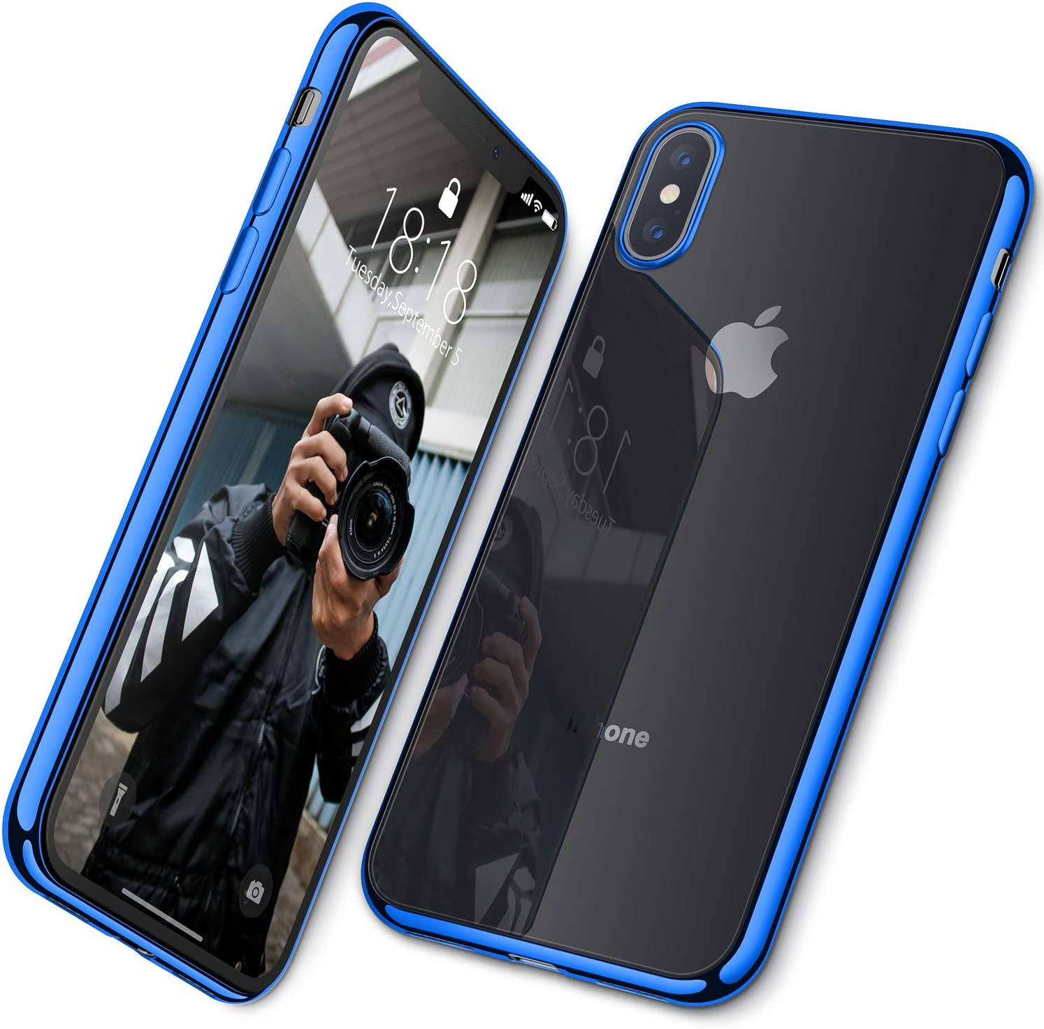 DTTO Case for iPhone Xs Max, [Lightening Series] Clear Stylish Flexible Case with Metal Luster Edge for Apple iPhone Xs Max 6.5 Inch (2018 Released)-Blue
