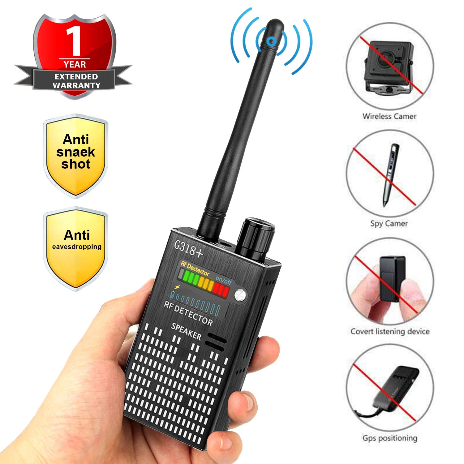 Eilimy Anti-Spy Wireless RF Signal Detector [2019 Latest Upgrade]BUG GPS Hidden camera Signal Detector,for Hidden Camera GSM Eavesdropping Device GPS Radar Radio Scanner Wireless Signal Device Finder by Eilimy