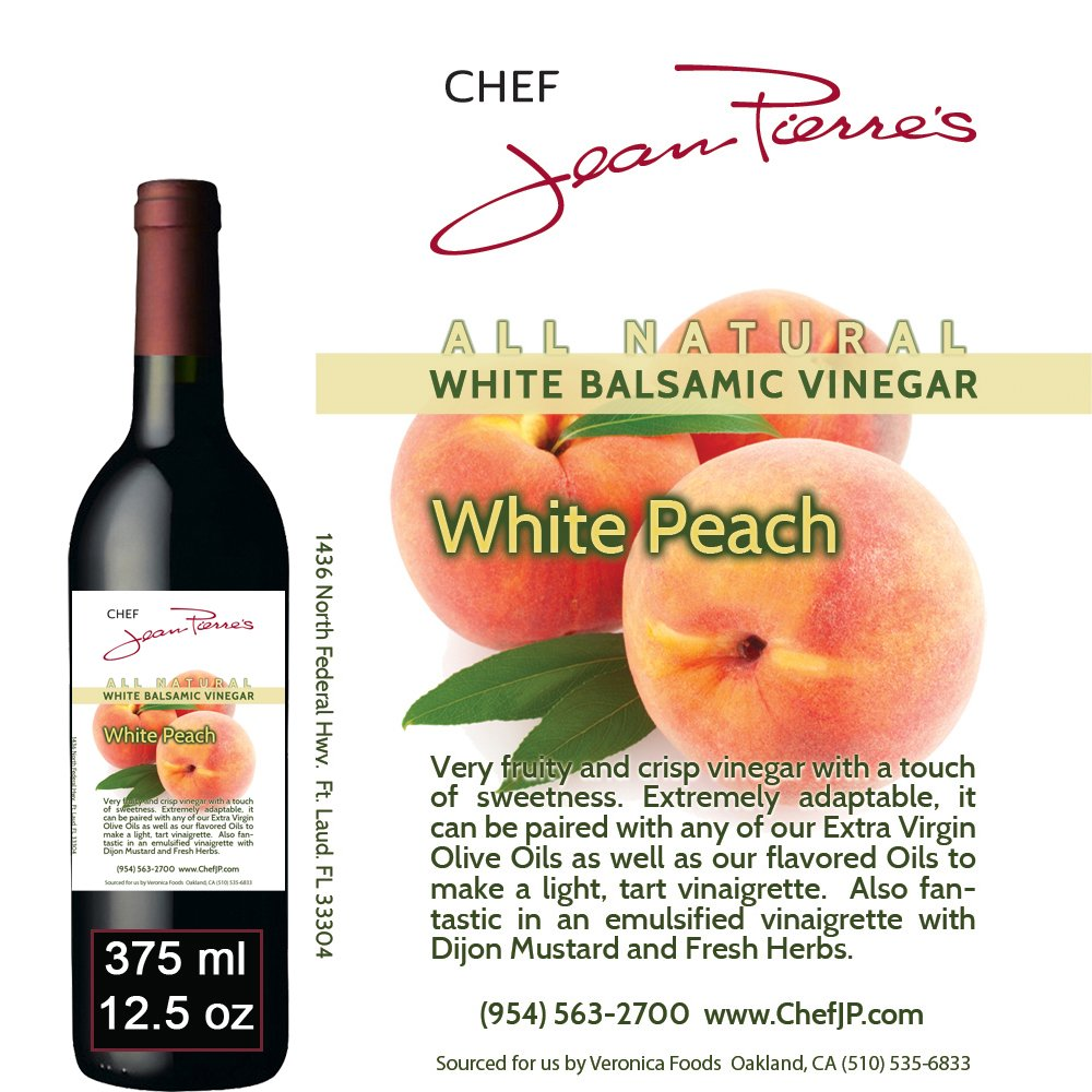 Traditional Barrel aged 12 years ''Peach White Balsamic'' 100% ALL NATURAL vinegar 375ml (12.5oz) by Chef Jean Pierre
