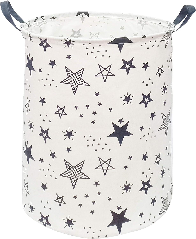 KUNRO Large Sized Round Storage Basket Waterproof Coating Organizer Bin Laundry Hamper for Nursery Clothes Toys (Black Star)