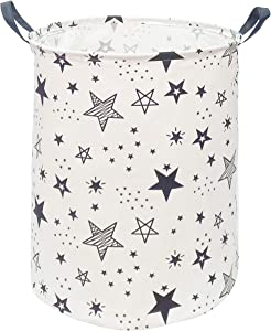 KUNRO Large Sized Round Storage Basket Waterproof Coating Organizer Bin Laundry Hamper for Nursery Clothes Toys (Black Star)