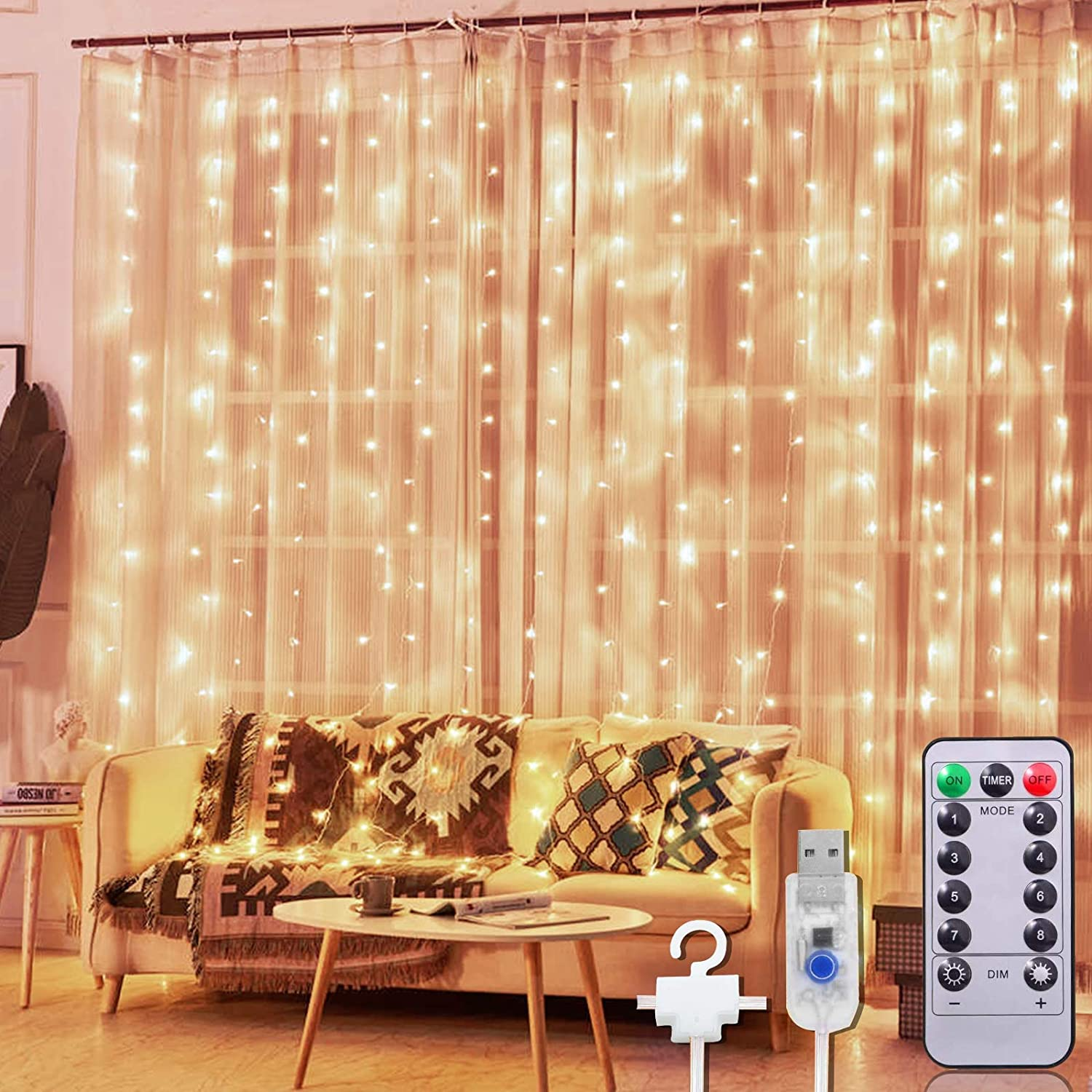 TURNMEON 300 LED Curtain String Light Christmas Decoration, 10 Ft USB Fairy Lights Waterproof 8 Light Modes Remote Control Xmas Holiday Decorations Home Bedroom Wall Outdoor Indoor (Warm White)