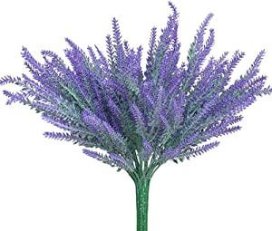 LAPONEE 8 Bundles Artificial Lavender Flowers Plants, Lifelike UV Resistant Fake Shrubs Greenery Bushes Bouquet to Make Your Home Kitchen Garden Indoor Outdoor Decor More Beauty (Lavender Purple)