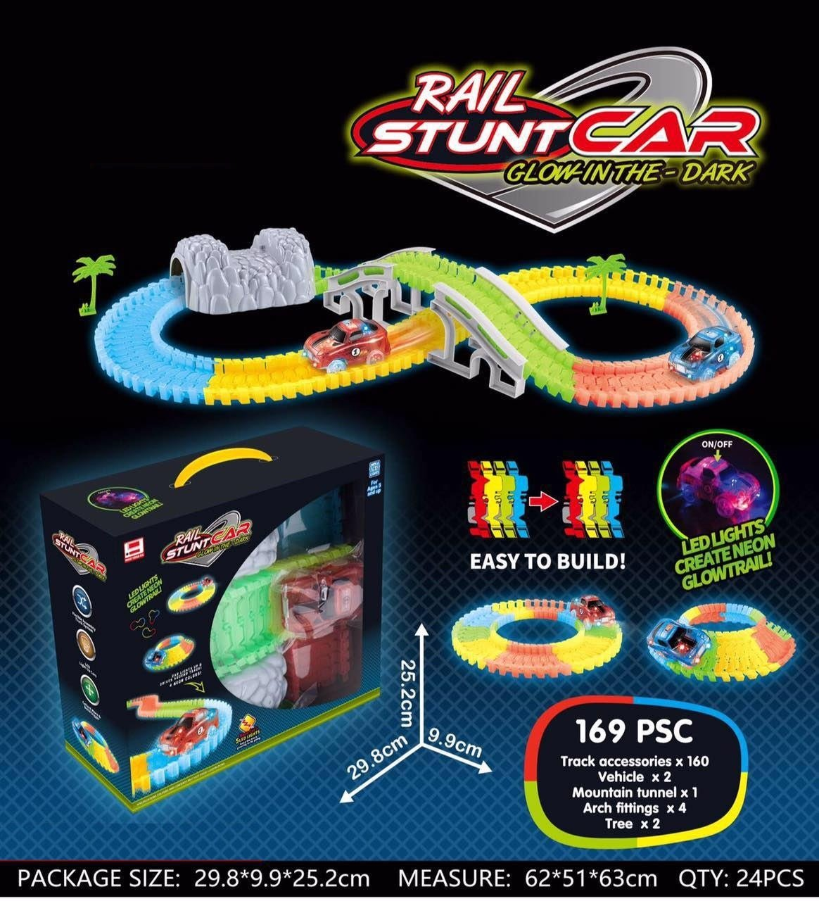 Playlearn Glow In The Dark Magic Track '2 LED CARS, BRIDGE, TREES & TUNNEL' Flexible Electric Car Racetrack for Kids TREES & TUNNEL Flexible Electric Car Racetrack for Kids