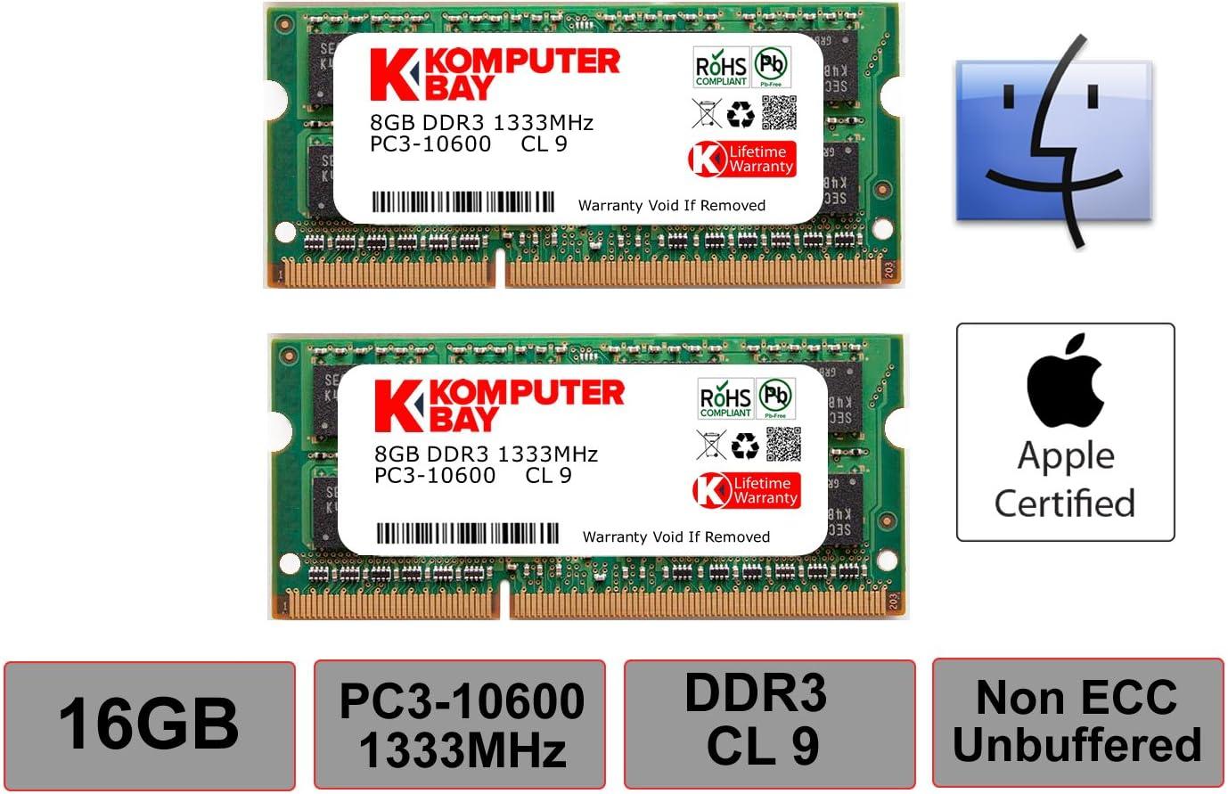 "Komputerbay MACMEMORY 16GB Dual Channel Kit 2X 8GB 204pin 1.35v DDR3-1867 SO-DIMM 1867/14900S (1867MHz, CL13) for Apple iMac 27"" 5K (Late 2015)"