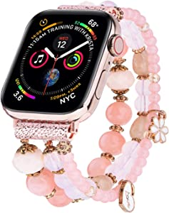 V-MORO Bracelet Compatible with 44mm Apple Watch Band 42mm Women Fashion Handmade Elastic Stretch Beads Replacement for iWatch Series 6/5/4/3/2/1 42mm 44mm with Rose Gold Stainless Steel Adapter