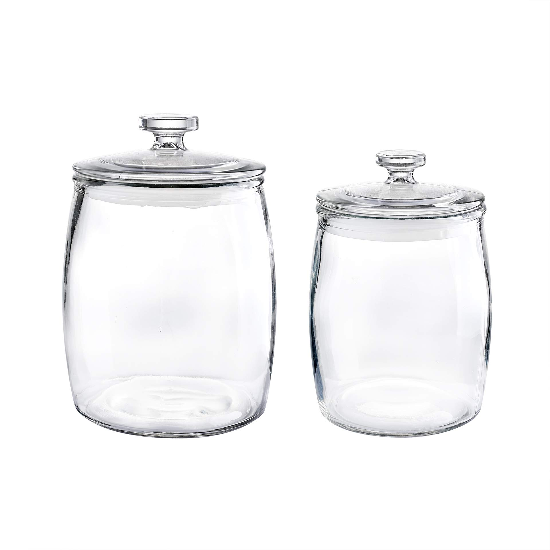 1.1 Gal and 0.6 Gal Glass Apothecary Jar 7.3X10.2 Inch and 6.1X8.5 Inch Canister Set of 2