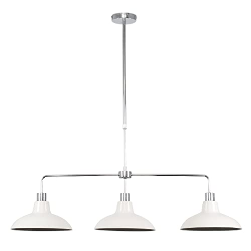 Modern 3 Way Polished Chrome Rise & Fall Suspended Over Table Ceiling Light Fitting with Gloss Cream Metal Curved Shades
