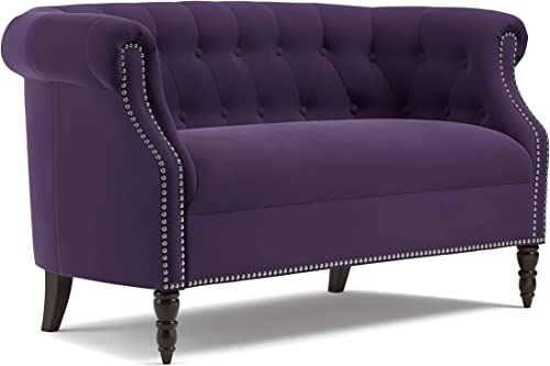 Plum Purple Velvet Loveseat Solid Traditional Polyester Nailheads