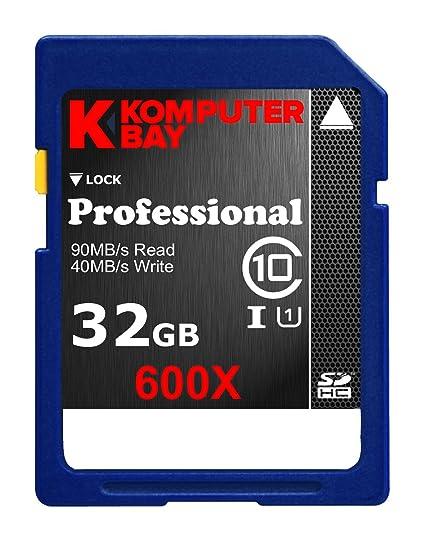 Komputerbay Professional 32 GB - Tarjeta de Memoria SecureDigital de 32 GB (UHS-I Class 10, 90 MB/s), Negro