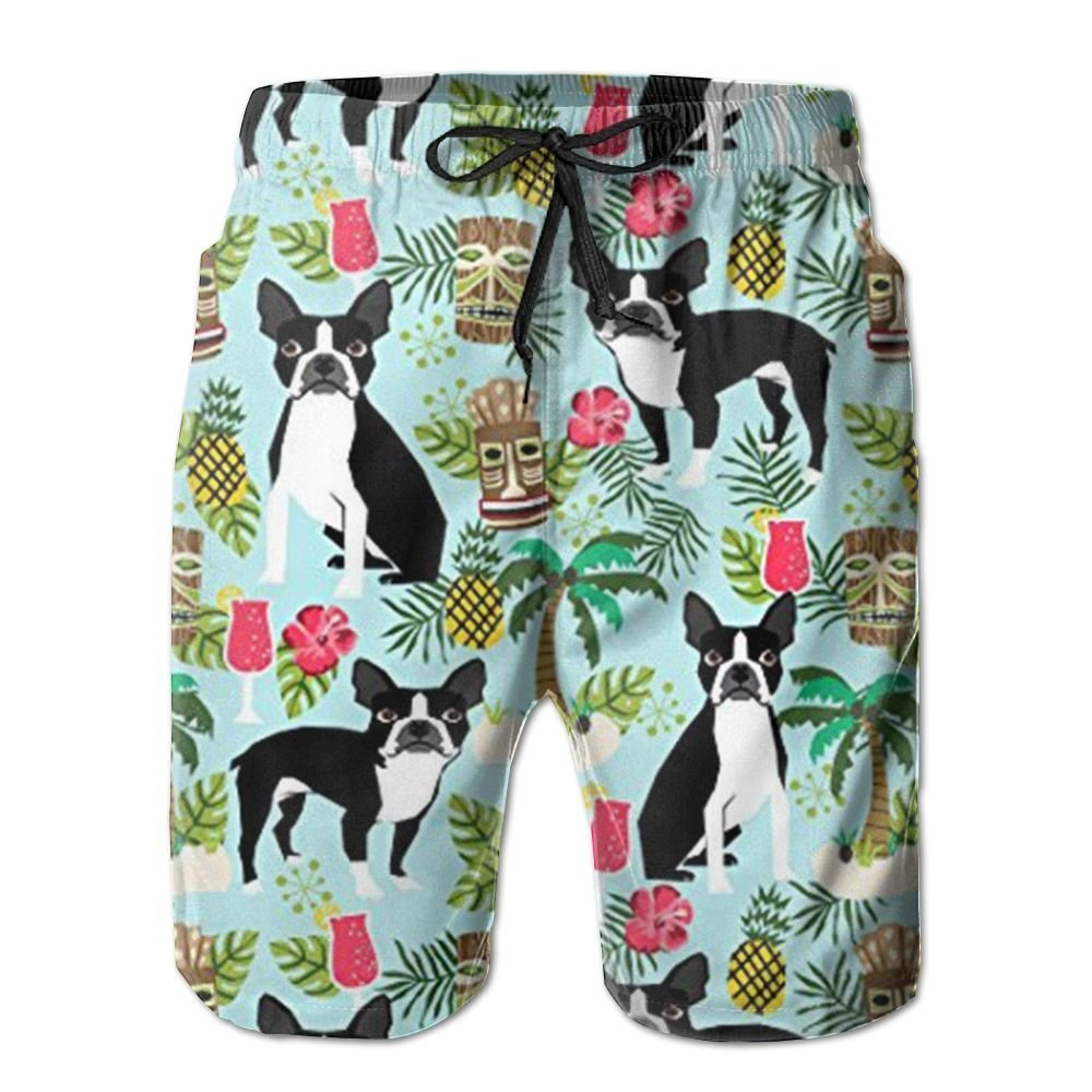 2018 pants New Boston Terrier, Palm Trees Summer Holiday Men's Beach Pants,Shorts Beach Shorts Swim Trunks