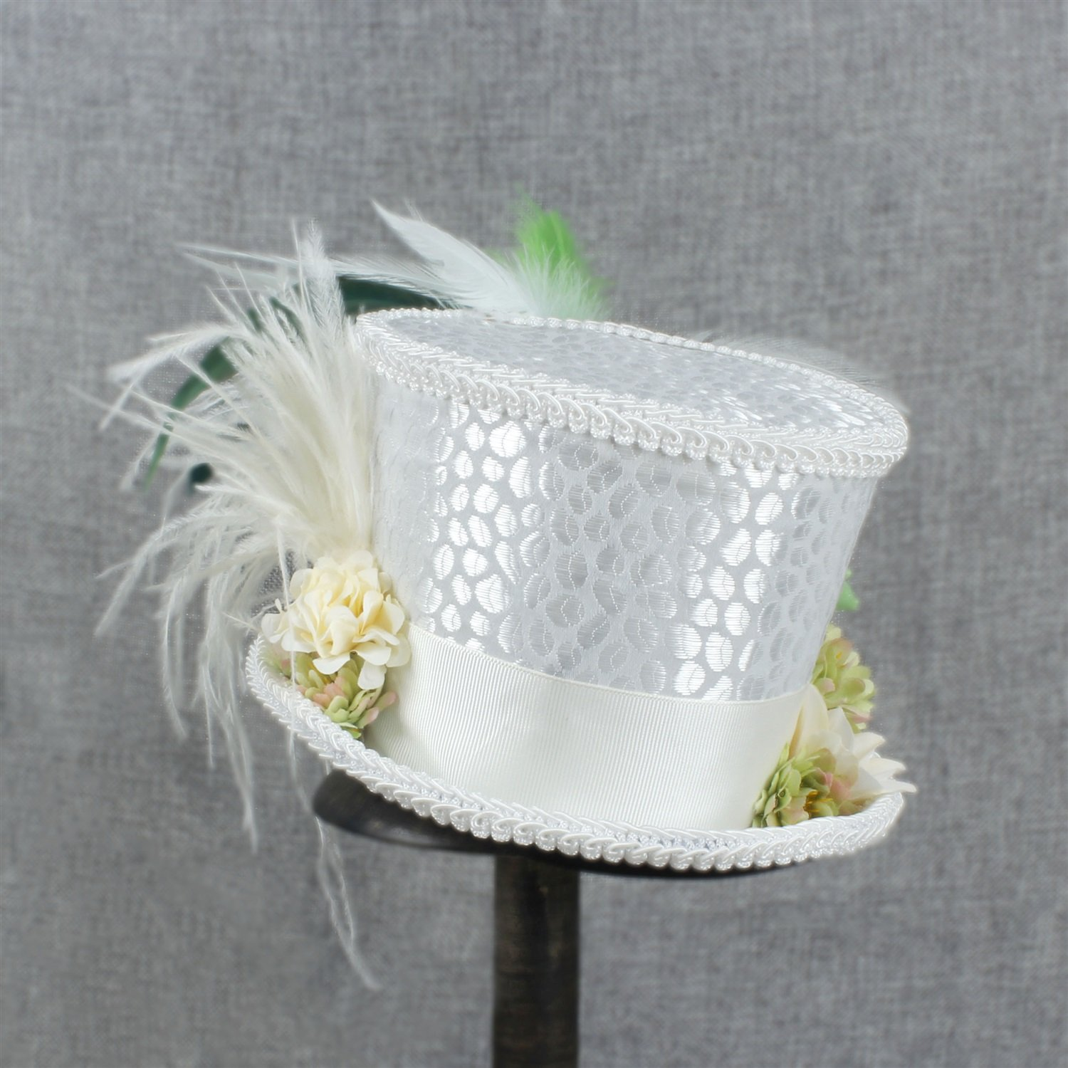 LL Women's White Mini Top Hat Tea Hat Mad Hatter Tea hat, Bridal Hat, Kentucky Derby hat (Color : White, Size : 25-30cm) by LL (Image #3)
